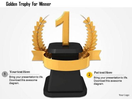 Stock Photo Golden Trophy For Winner PowerPoint Slide