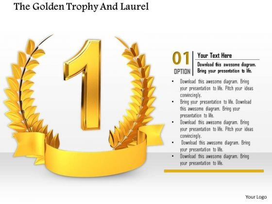 Stock Photo Golden Trophy With Laurel For Number One Position PowerPoint Slide