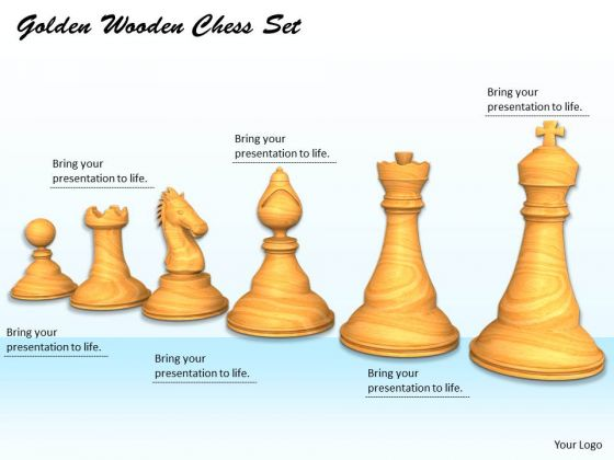 Stock Photo Golden Wooden Chess Set PowerPoint Template