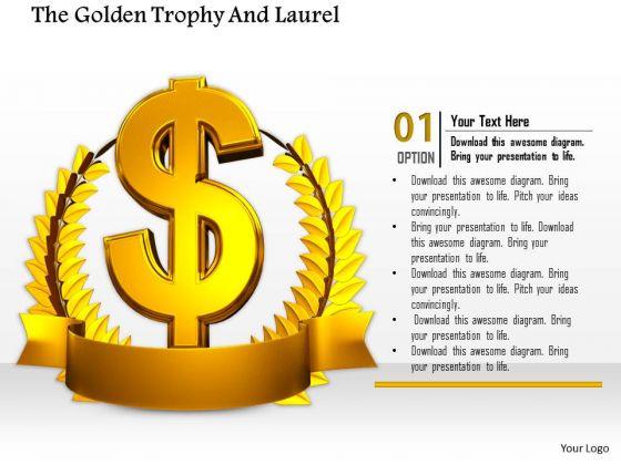 Stock Photo Golden Wreath Around Dollar Symbol PowerPoint Slide