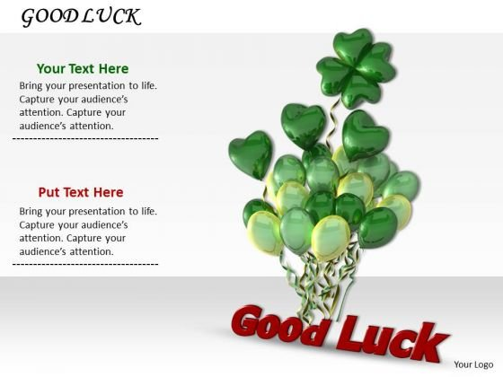 Stock Photo Good Luck Text With Green Balloons PowerPoint Slide