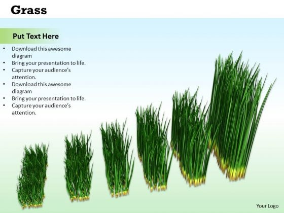 Stock Photo Graph Of Growing Green Grass PowerPoint Slide