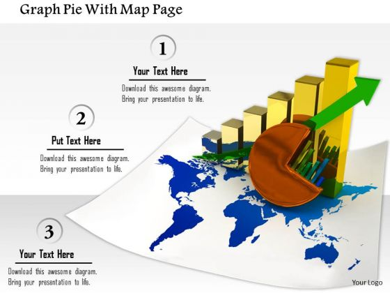 Stock Photo Graph Pie With Map Page PowerPoint Slide