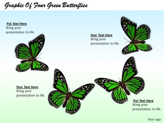 Stock Photo Graphic Of Four Green Butterflies PowerPoint Template