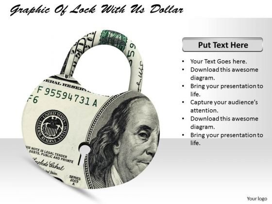 Stock Photo Graphic Of Lock With Us Dollar PowerPoint Template