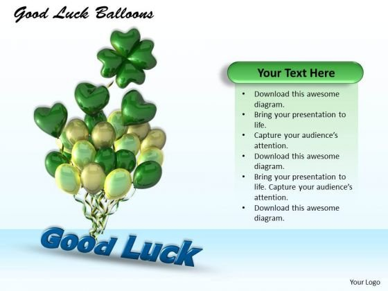Stock Photo Graphics Of Balloons With Good Luck Text PowerPoint Slide