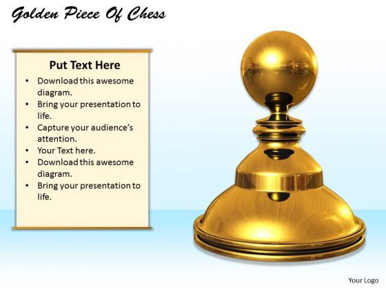 Stock Photo Graphics Of Golden Piece Of Chess PowerPoint Slide