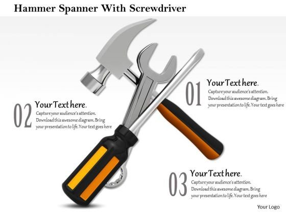 Stock Photo Graphics Of Hammer Spanner With Screwdriver PowerPoint Slide