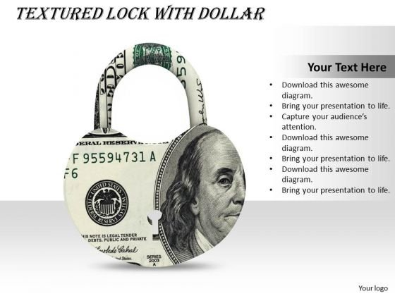 Stock Photo Graphics Of Padlock With Us Dollar Pwerpoint Slide