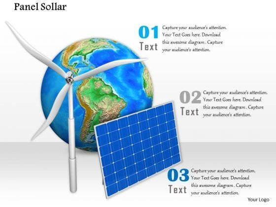 Stock Photo Graphics Of Windmill With Solar Panel PowerPoint Slide