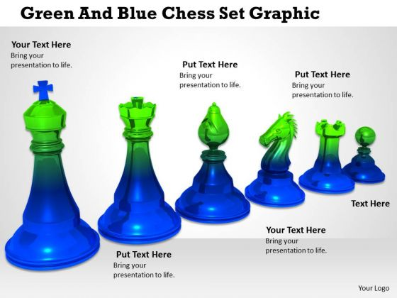 Stock Photo Green And Blue Chess Set Graphic PowerPoint Template