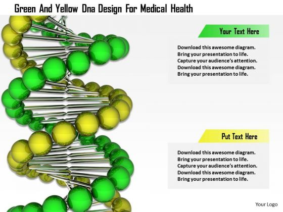 Stock Photo Green And Yellow Dna Design For Medical Health PowerPoint Slide