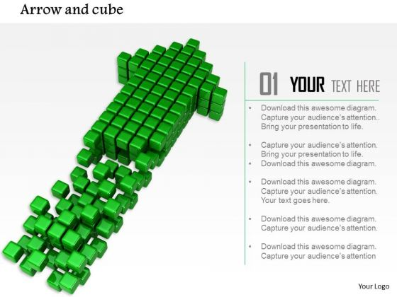 Stock Photo Green Arrow Made With Cubes PowerPoint Slide