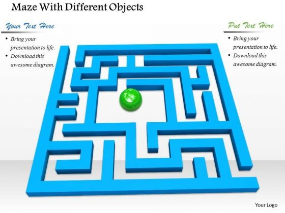 Stock Photo Green Ball In Center Of Blue Maze PowerPoint Slide