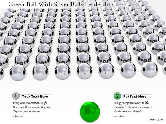 Stock Photo Green Ball With Silver Balls Leadership Image Graphics For PowerPoint Slide