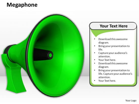 Stock Photo Green Color Megaphone PowerPoint Slide