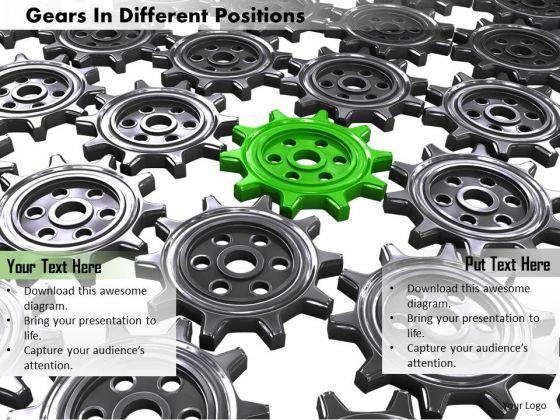 Stock Photo Green Gear In Center Of Black Gears PowerPoint Slide