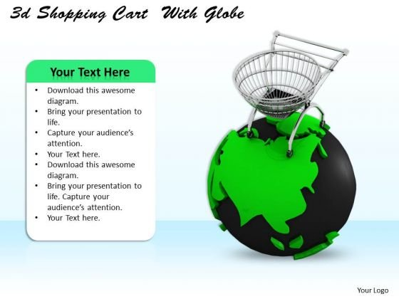 Stock Photo Green Globe And Shopping Cart For Sales PowerPoint Slide