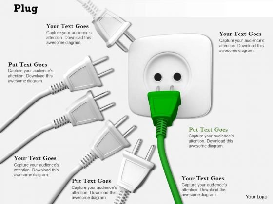 Stock Photo Green Plug Near To Socket PowerPoint Slide
