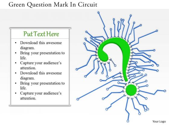 Stock Photo Green Question Mark In Circuit PowerPoint Slide