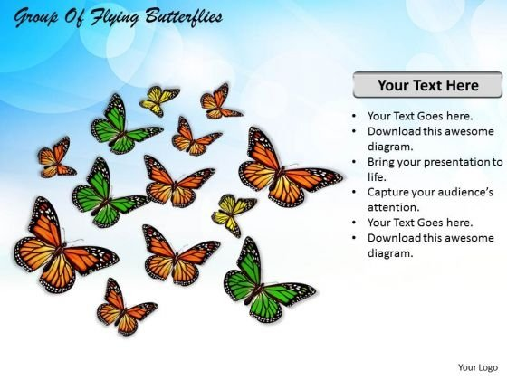 Stock Photo Group Of Flying Butterflies PowerPoint Template