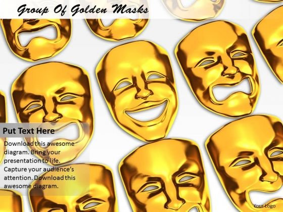 Stock Photo Group Of Golden Masks PowerPoint Template