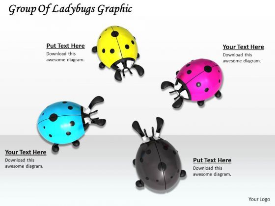 Stock Photo Group Of Ladybugs Graphic PowerPoint Template