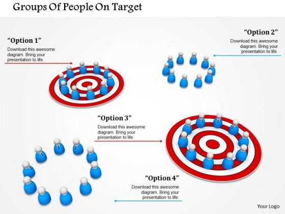 Stock Photo Groups Of People On Target PowerPoint Slide