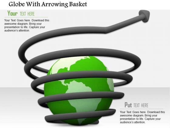 Stock Photo Growth Arrow Around The Globe PowerPoint Slide