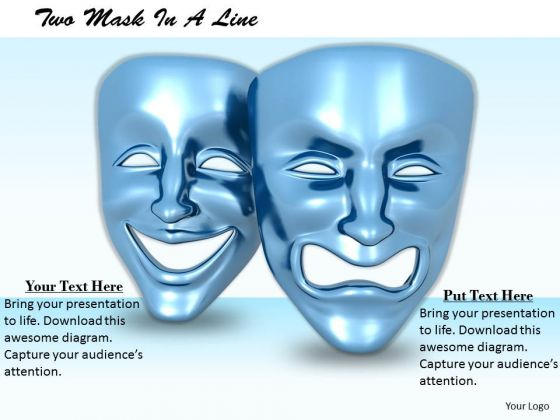 Stock Photo Happy Angry Emotions Mask PowerPoint Slide