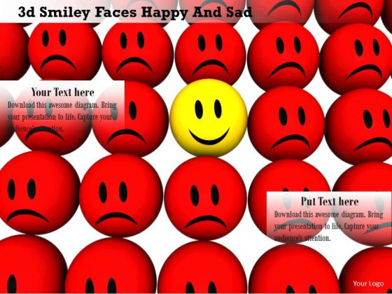 Stock Photo Happy Smiley Faces With One Sad Face PowerPoint Slide