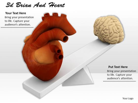 Stock Photo Heart And Brain On Scale PowerPoint Slide