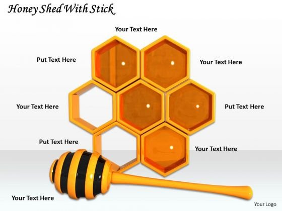 Stock Photo Honey Shed With Stick PowerPoint Template