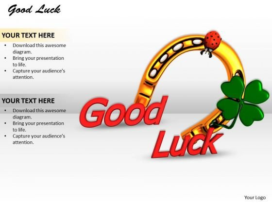 Stock Photo Horse Shoe Clover Leaf For Good Luck PowerPoint Slide