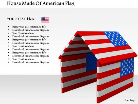 Stock Photo House Made Of American Flag PowerPoint Slide