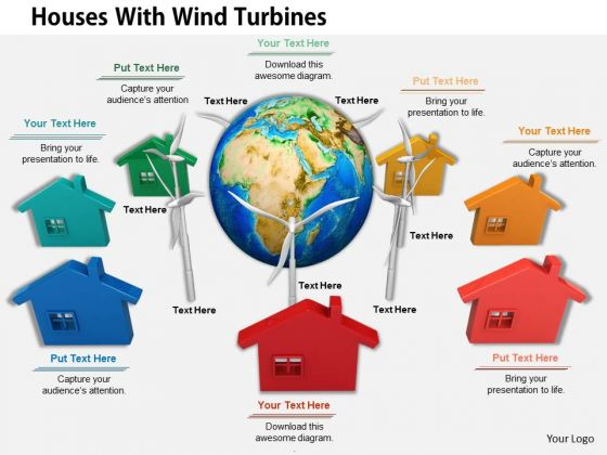 Stock Photo Houses Around Globe With Wind Turbines PowerPoint Slide