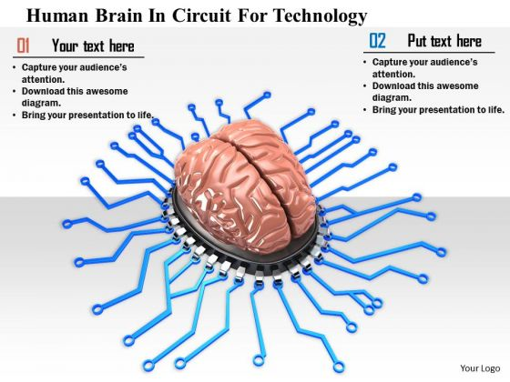 Stock Photo Human Brain In Circuit For Technology Image Graphics For PowerPoint Slide