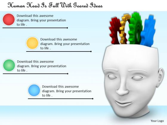 Stock Photo Human Head Is Full With Geared Ideas PowerPoint Template