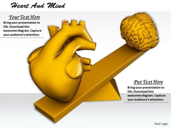 Stock Photo Human Heart And Brain On Scale PowerPoint Slide