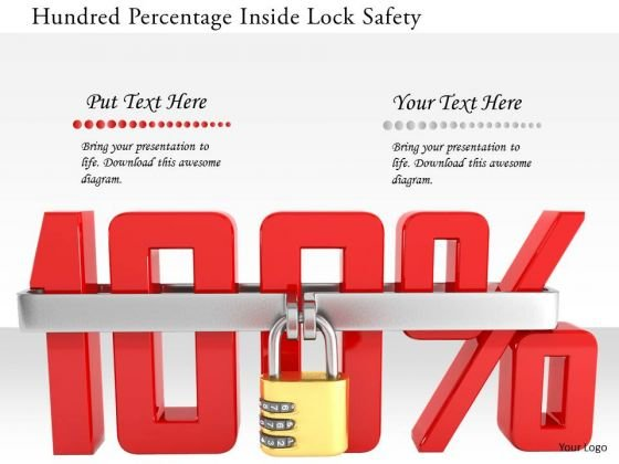 Stock Photo Hundred Percentage Inside Lock Safety PowerPoint Slide
