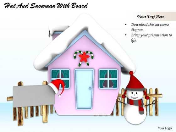 Stock Photo Hut With Snowman Winter Season PowerPoint Slide
