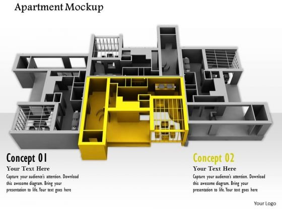 Stock Photo Illustration Of Apartment Mockup PowerPoint Slide