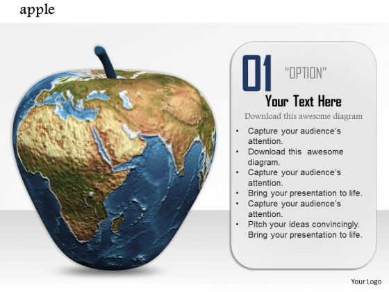 Stock Photo Illustration Of Globe Apple PowerPoint Slide