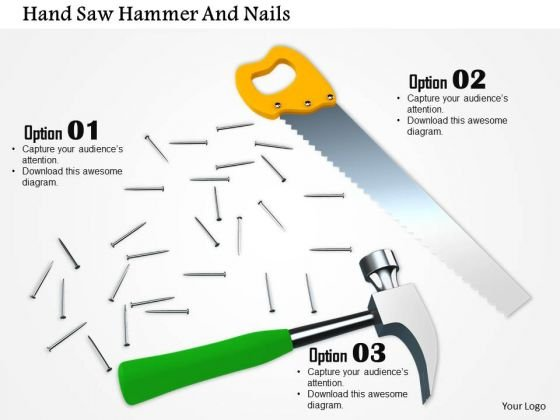 Stock Photo Illustration Of Handsaw Hammer And Nails PowerPoint Slide