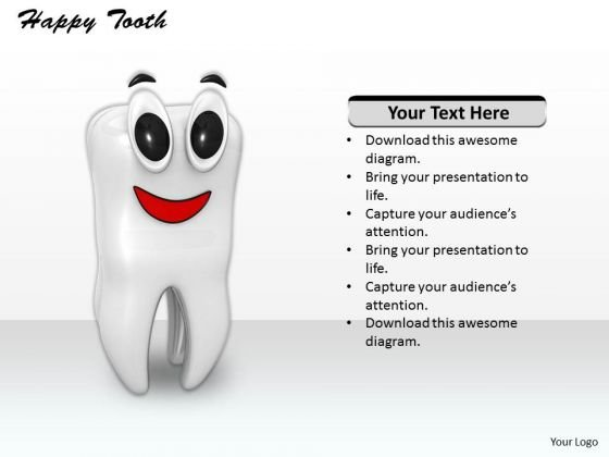 Stock Photo Illustration Of Happy Tooth PowerPoint Slide