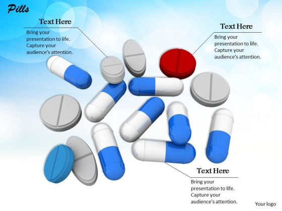 Stock Photo Illustration Of Medicine Pills And Capsules PowerPoint Slide