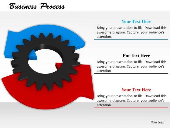 Stock Photo Illustration Red Blue Arrow On Gear PowerPoint Slide