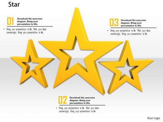 Stock Photo Illustration Yellow Shiny Stars PowerPoint Slide