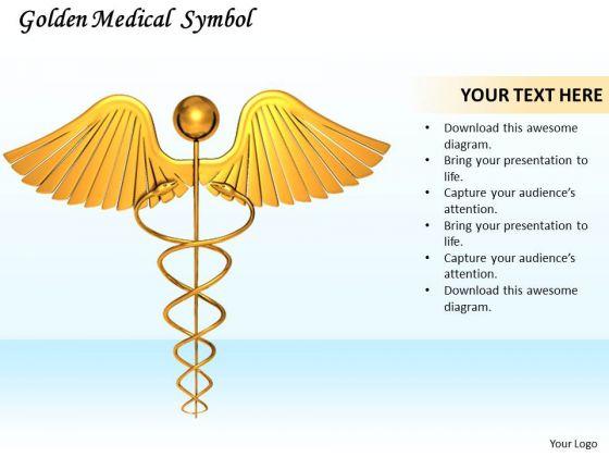 Stock Photo Image Of Golden Medical Symbol PowerPoint Slide