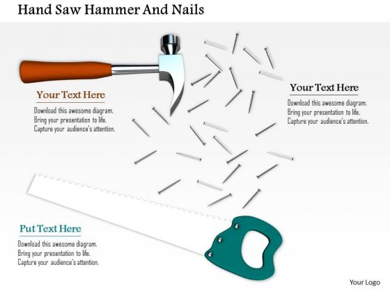 Stock Photo Image Of Handsaw Hammer And Nails PowerPoint Slide